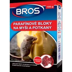 Rodenticid BROS Parafínové bloky na myši a potkany 100 g